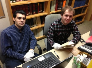 Alex Calikyan and Chris Pirik cataloging rare Armenian books in the ZIC collection