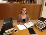 Diana Nikolyan, a high school junior, sorts through issues of Sion, the journal of the Armenian Patriarchate of Jerusalem.