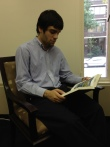 Alexander Calikyan reading in the Zohrab Center this summer