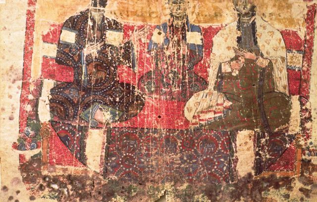 Portrait of King Gagik-Abas, Queen Goranduxt, and Princess Marem.  Courtesy of Dickran Kouymjian, The Arts of Armenia (Accompanied by a Collection of 300 Slides in Color), Lisbon:  Calouste Gulbenkian Foundation, 1992. Photograph Ara Güler, Image No. 69.