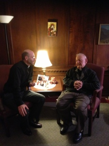 Rev. Fr. Arten Ashjian (R) speaks with ZIC Director Fr. Daniel Findikyan about his Oratsooyts collection.