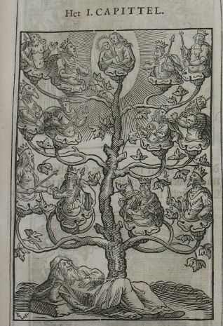 """Tree of Life"" Dutch woodcut print dated 1646 by Christoffel van Sichem. Note the monogram ""CvS"" in the lower left corner."