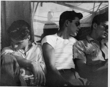 Departure day for three young American-Armenians setting sail on the Russian ship Rossiya from New York to Soviet Armenian in 1947. In the center is Hazel Antaramian-Hofman's father. Courtesy of the Antaramian Family, 2012.